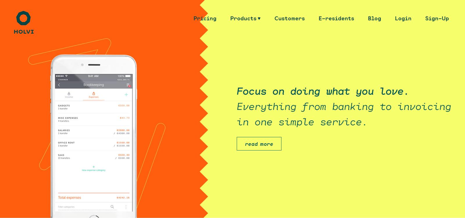 Holvi - product header